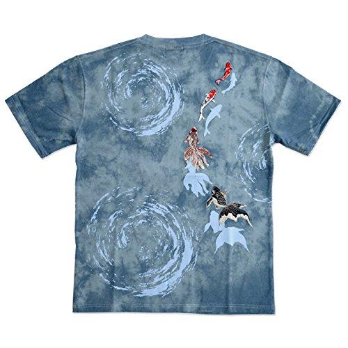 (カチョウフウゲツ)華鳥風月 タイダイ染め金魚半袖Tシャツ 和柄 和風 メンズ きんとと 刺繍 372203 グレー XXL