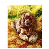 LovetheFamily 数字油絵 数字キット塗り絵 手塗り DIY絵 デジタル油絵 金色の小犬 40x50cm ホーム オフィス装飾