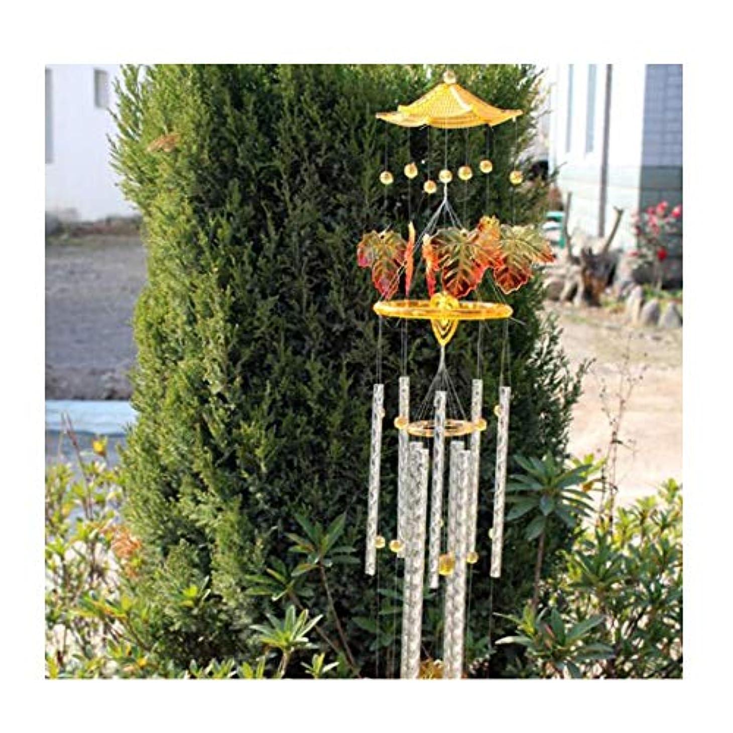 海峡ひも熱帯の対処する風鈴、創造的なカエデの葉9チューブ風鈴飾り、家庭のリビングルームベッドルーム中庭の装飾、毎日の贈り物 (Color : Yellow, Size : 90cm)