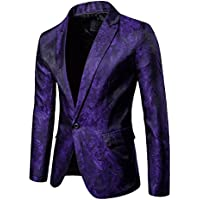 Zhuhaitf Fashion Printing Slim fit Blazer Jacket Prom Party Casual Shiny Suits Coat for Youth Mens Apparel