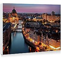 ベルリン、ドイツ、市、夜、ライト、建物、川 - 壁の絵 壁掛け ソファの背景絵画 壁アート写真の装飾画の壁画 - (40cmx30cm)