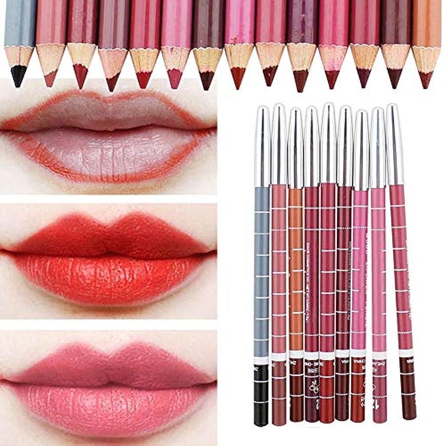 ピンク端末練習したKOULI 人気 唇用美容ペン 防水 化粧 安い ファション スーツ 長持ち ペン リップライナー 口紅 メイクアップセット 12色セット