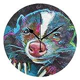 掛け時計 置き時計 おしゃれ 壁掛け 時計 薄型軽量 部屋装飾 フロリダ州スカンク柄 [並行輸入品]