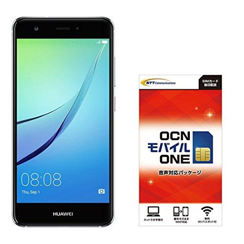 Huwei 5.0型 nova SIMフリースマートフォン チタニウムグレー&OCN モバイル ONE 音声通話SIMカード