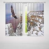 YOLIYANA 遮光カーテン クジラ 装飾 リビングルーム 寝室 飾り 海に飛ぶイラスト 2つの画像に水を分割 28W X 39L Inches Z-02_03_141787
