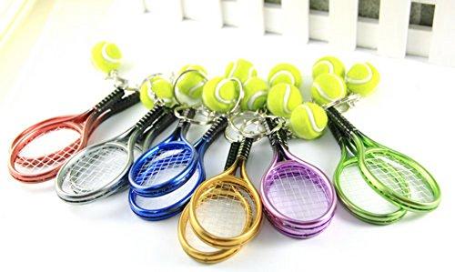 【ノーブランド品】 メタリック テニスラケット & ボール ペア キーホルダー 2個セット シルバー