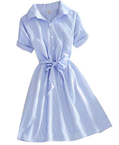 ELPIS レディース ワンピース キュート ストライプ 爽やか 半袖 シャツ リボン ボタン ブルー