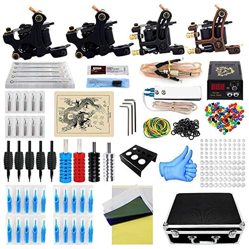 訴えるドキュメンタリーカスケード初心者のためのスタータータトゥーキット4マシンガンタトゥーミニ電源ユニットの供給タトゥーキットEUプラググリップ針の練習