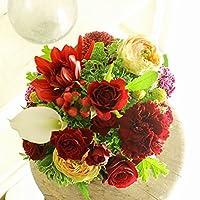 [AF174]デザイナーズフラワーアレンジメントSサイズ Vivid Red(赤系)< 誕生日祝い 結婚祝い 結婚記念日 出産祝いに >