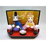 ハンドメイド 羊毛フェルト 猫 ひな祭り ひな人形 桃の節句 サバトラ白猫 茶トラ白猫 雛人形 お雛様 ぼんぼり 菱餅 縁起物 置物