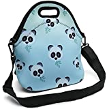 Insulated Neoprene Lunch Bag - Removable Shoulder Strap - X-Large Size Reusable Thermal Thick Lunch Tote/Lunch Box/Cooler Bag for Women,Teens,Girls,Kids,Baby,Adults (New Small Pandas)