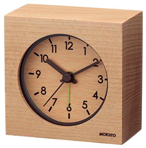 LANDEX(ランデックス) 目覚まし時計 MOKUZO ミニキューブ 白木 ライトブラウン YT5224WH