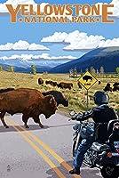 イエローストーン国立公園–Motorcycle and Bison 24 x 36 Signed Art Print LANT-48331-710