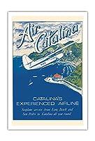 サンタカタリナ島、カリフォルニア州 - Grumann Goose 水陸両用機 - エアカタリナ - ビンテージな航空会社のポスター によって作成された ゲリー・ミルティモア c.1970s - アートポスター - 76cm x 112cm