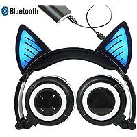 ブルートゥース マイク 充電式ワイヤレスヘッドセット 猫耳の形状折り畳み式の調節可能なフラッシュブルーライト iPhone用ヘッドフォン7 / 6S / iPadアプリ、Androidの携帯電話、MacBookの(ブラック)