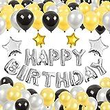 GRESATEK 誕生日 バルーン ハッピーバースデー バルーン 2.2g極厚風船3色100個 ポンプ 両面テープ リボン付き (ブラックゴールドセット)