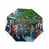 超軽量 折りたたみ傘 ワンタッチ自動開閉 クリスマスツリー 折り畳み傘 軽量 Teflon撥水加工 210T高強度グラスファイバー 頑丈な8本骨 耐強風 晴雨兼用 傘カバー付き