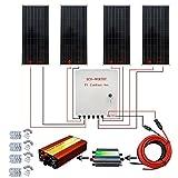 ECO-WORTHY 400W ソーラーパネルキット: 4個 100W ソーラーパネル + ソーラーケーブル +30A PWM チャージャーコントローラー +1000W 12V-110V オフグリッド正弦波インバーター + コンバイナボックス + Z 取付金具 RV ボート