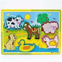 Liebeye 3D木製パズル 動物 車フルーツ ジオメトリカル 漫画教育パズルジグソ パズル 農場動物B