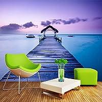 Xbwy ロマンチックな美しいフレスコ画海辺の風景壁画壁紙リビングルームの寝室の背景装飾壁画3D-400X280Cm