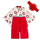 JUST style 袴 ロンパース (花飾り付き) カバーオール 和服 和装 新生児 男の子 女の子 (70cm,レッド)