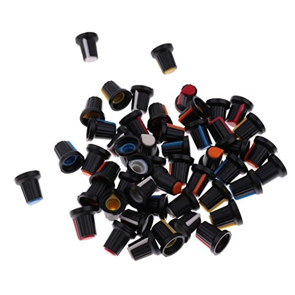 より多いチャットとげFenteer 約50ピース  5色 回転 テーパ制御 プラスチック ポテンショメータ ノブカバー キャップ  17×16×16mm