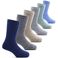Boys Wool Socks Kids Winter Warm Crew Seamless Socks 6 Pack