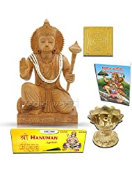 Lord Hanuman木製Statue withヤントラ、Chalisa、Diya and Incense Sticks Vedic Vaani