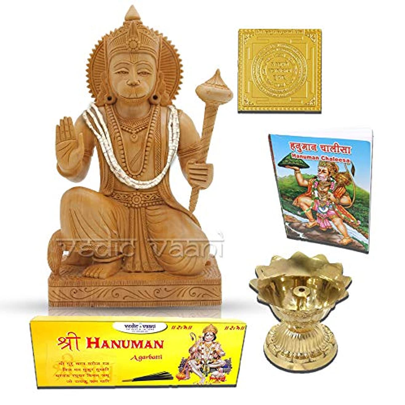 まだら文化航空会社Lord Hanuman木製Statue withヤントラ、Chalisa、Diya and Incense Sticks Vedic Vaani