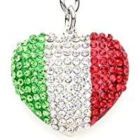 Lilly Rocket Green White Red Mexico Italy Flag Design Heart Bling Swarovski Rhinestone Crystal Charm Pendant Purse Bag Key Ring Chain