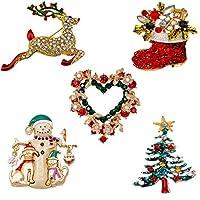 Jade Cherishブローチbrooch 美しくて輝き 飾り物 ハート形と雪だるまさん 鹿 鈴 靴 ラインストーン セット5つ