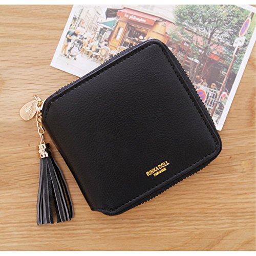 【ビジネスに】5 色 レディース 女の子 財布 二つ折り 小銭入れ 高級 レザー ラウンドファスナー (ブラック)