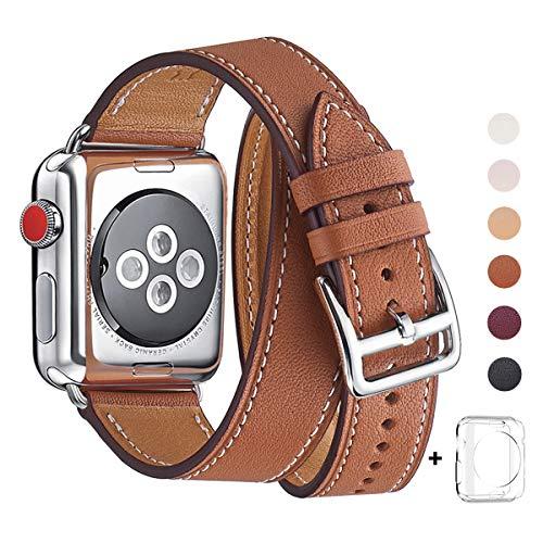 WFEAGL コンパチブル Apple Watch バンド, は本革を使い, iwatch series4/3/2/1 レザー製,Sport/Edition向けのバンド交換ストラップです コンパチブル アップルウォッチ バンド (42mm 44mm, 二重巻き型 ブラウン +シルバー バックル2)