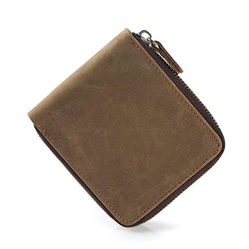 ONSTRO メンズ 財布 ウォレット レザー 本革 横型 小銭入れ付き ファスナー コンパクト