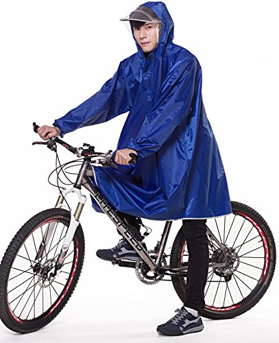 QIAN レインコート 自転車 バイク ロングポンチョ 雨具 通勤 通学 防水 フリーサイズ 男女兼用 (サファイア色)