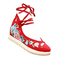 [Kindoyo] レディースサンダル - トラディショナル 刺繍 レースアップ キャンバス ウェッジヒールの靴,レッド,CN34(足の長さ:220mm)