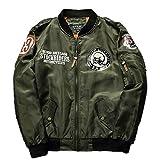 メンズ ジャケット ブルゾン ミリタリー ジャンパー フライジャケット MA-1 黒 緑 紺 M L XL (グリーン XL)