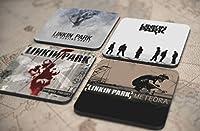 36種類!人気レア!《リンキン・パーク/Linkin Park》オリジナル・アルバム ジャケット デザイン コルク製 コースター 4個セット (1-4) [並行輸入品]