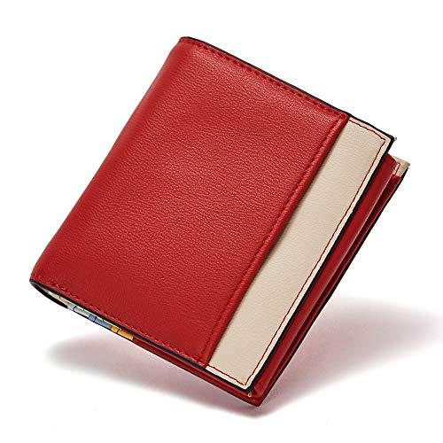 [ボスタンテン]BOSTANTEN 財布 レディース 二つ折り 小銭入れ ウォレット 短財布 大容量(レッド)
