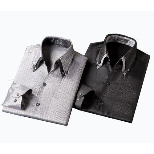 (フランコ コレツィオーニ)Franco Collezioni 光沢ドレスシャツ2枚組 50282  ブラック L