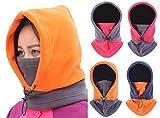 (リグリ) LIGLI ネックウォーマー フェイスマスク 男女兼用 4way 吹雪も安心 フード一体型 収納袋セット ピンク×グレー フリーサイズ