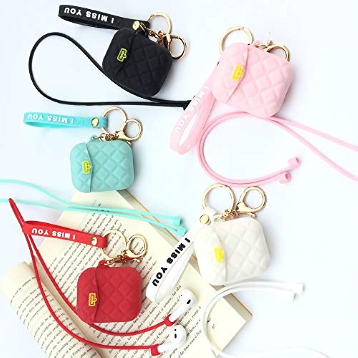 ピルファー上級それにもかかわらずGUANG-HOME 該当する日本と韓国の小さな香り菱形のバッグAirpods 1/2保護カバーアップルヘッドセットセット収納ボックス女性 (Color : Black)