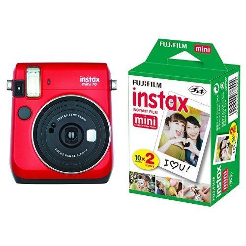 FUJIFILM インスタントカメラ チェキ instax mini70 レッド + チェキ用フィルム 20枚入 セット