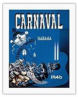 カーニバル・デ・ラ・ハバナ1946 - ハバナ、キューバ - 2月3月 - ビンテージな広告ポスター によって作成された エンリク・キャラヴィア・モンテネグロ c.1946 - キャンバスアート - 51cm x 66cm キャンバスアート(ロール)