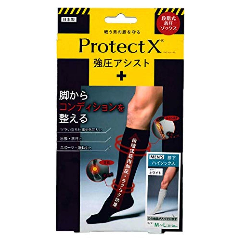 アナウンサーまともなバスProtect X(プロテクトエックス) 強圧アシスト つま先あり着圧ソックス 膝下 M-Lサイズ ホワイト