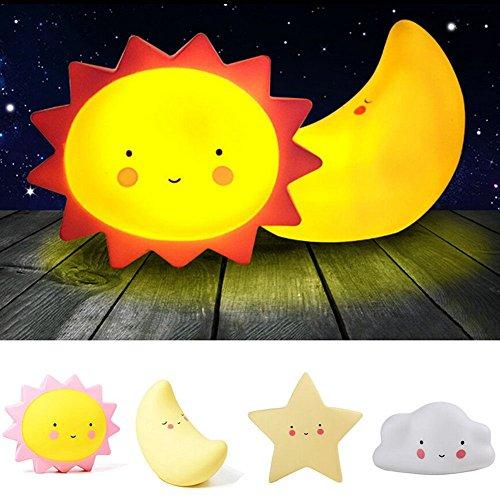 ベッドサイドランプ LEDライト ボタン電池式 超可愛い白雲 太陽 月 星 雰囲気作り 柔らかいシリコン 子供寝付きランプ ギフト (太陽 )