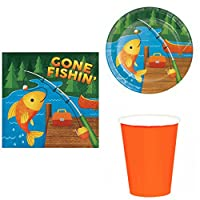 Gone Fishin' Fishing Birthday Party Supplies, 16 guests - plates, napkins, cups Camp Out Birthday Party Supplies