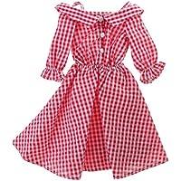 Lovoski  人形 かわいい オフショルダー  チェック柄  スカート ドレス 1/4スケール BJDドルフィードール適用 装飾 全2色  - 赤