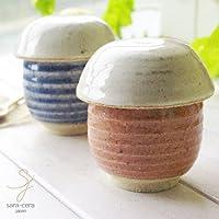 ペア2個セット 松助窯 キノコのビシソワーズスープ碗 蓋付茶碗蒸しクリームヘッド ピンク&ブルー 器 2人用 和食器 陶器 美濃焼 日本製