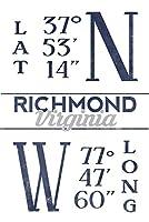 リッチモンドVirginia–緯度と経度(ブルー) 24 x 36 Signed Art Print LANT-67540-710